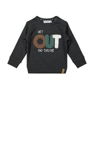 sweater met tekst antraciet