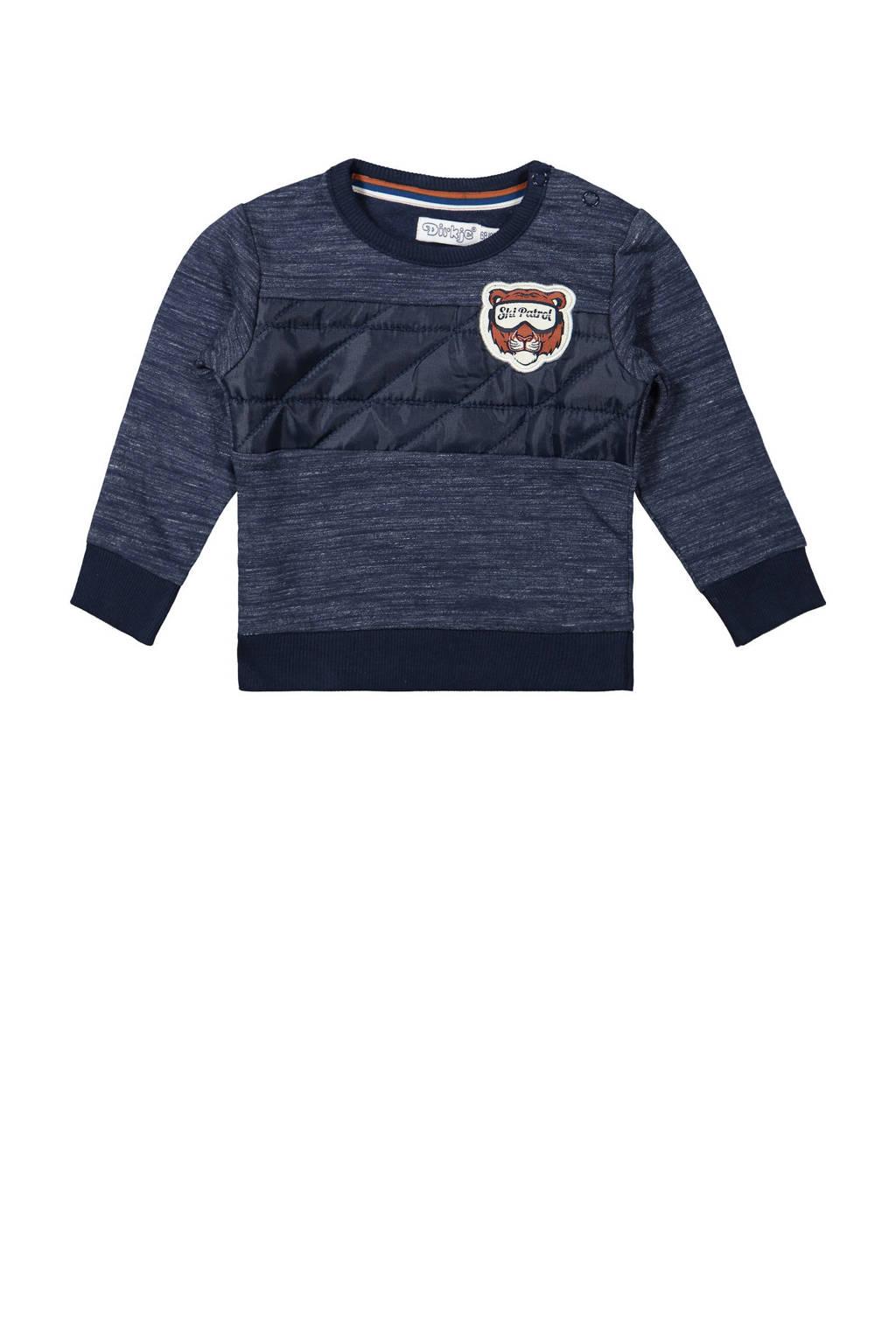 Dirkje gemêleerde sweater donkerblauw melange, Donkerblauw melange