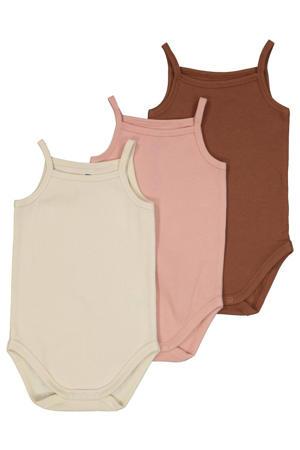 romper - set van 3 ecru/roze/bruin