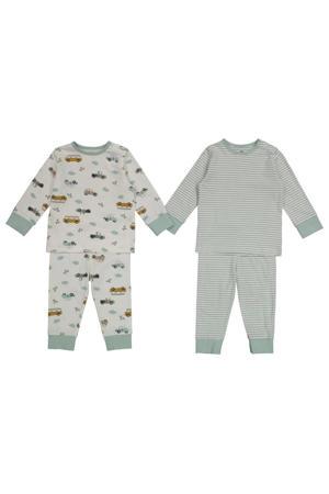 pyjama - set van 2 all over print ecru/groen
