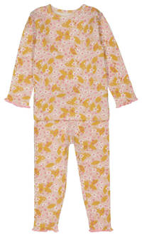 HEMA baby pyjama met all over print en ruches roze, Roze