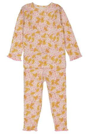 baby pyjama met all over print en ruches roze