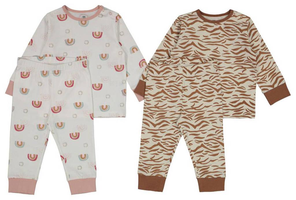 HEMA pyjama - set van 2 all over print bruin/lichtgrijs/roze, Bruin/lichtgrijs/roze