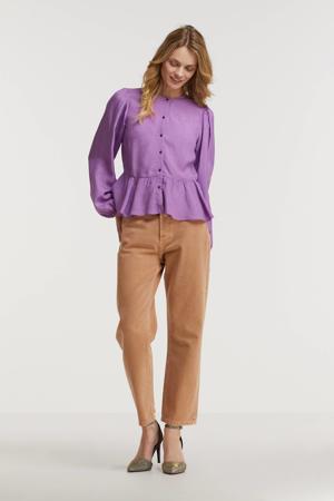 peplum blouse met plooien lila