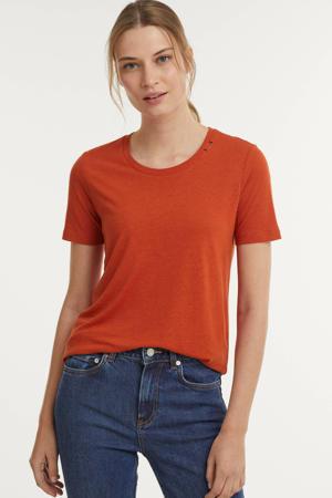 T-shirt met borduursels oranje