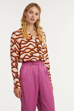 blouse met all over print ecru/ oranje