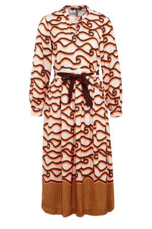 A-lijn jurk met contrastbies en open detail brique/zwart/oranje