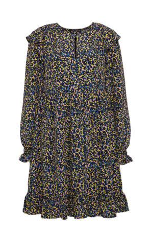 trapeze jurk met all over print en ruches blauw/ geel