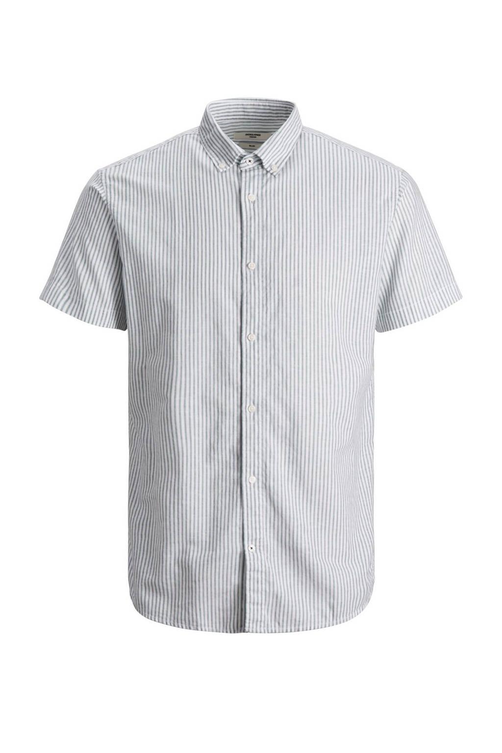 JACK & JONES PLUS SIZE gestreept regular fit overhemd Plus Size grijs, Grijs