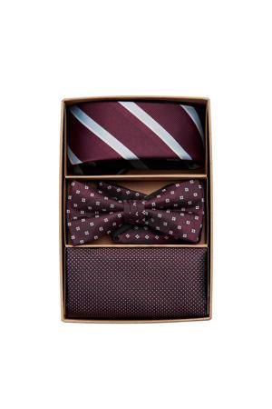 giftbox Carl stropdas + vlinderdas + pochette bordeauxrood