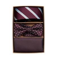 JACK & JONES giftbox JACCARL stropdas + vlinderdas + pochette bordeauxrood, Bordeauxrood