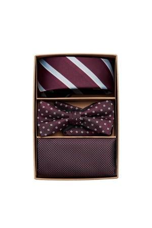 giftbox JACCARL stropdas + vlinderdas + pochette bordeauxrood