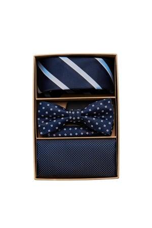 giftbox Carl stropdas + vlinderdas + pochette donkerblauw