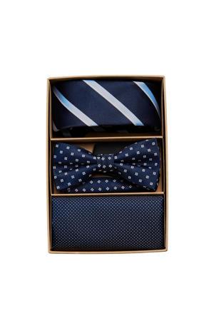giftbox JACCARL stropdas + vlinderdas + pochette donkerblauw