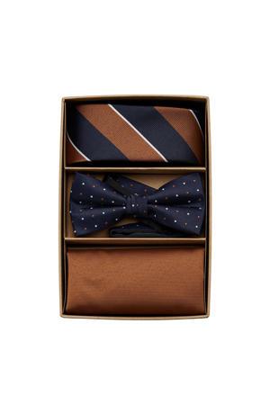 giftbox Canton stropdas + vlinderdas + pochette donkerblauw/bruin