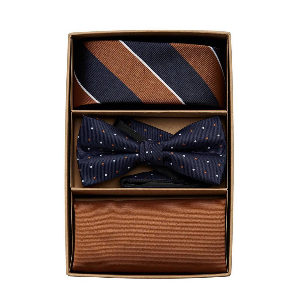 JACK & JONES giftbox JACANTON stropdas + vlinderdas + pochette donkerblauw/bruin, Donkerblauw/bruin