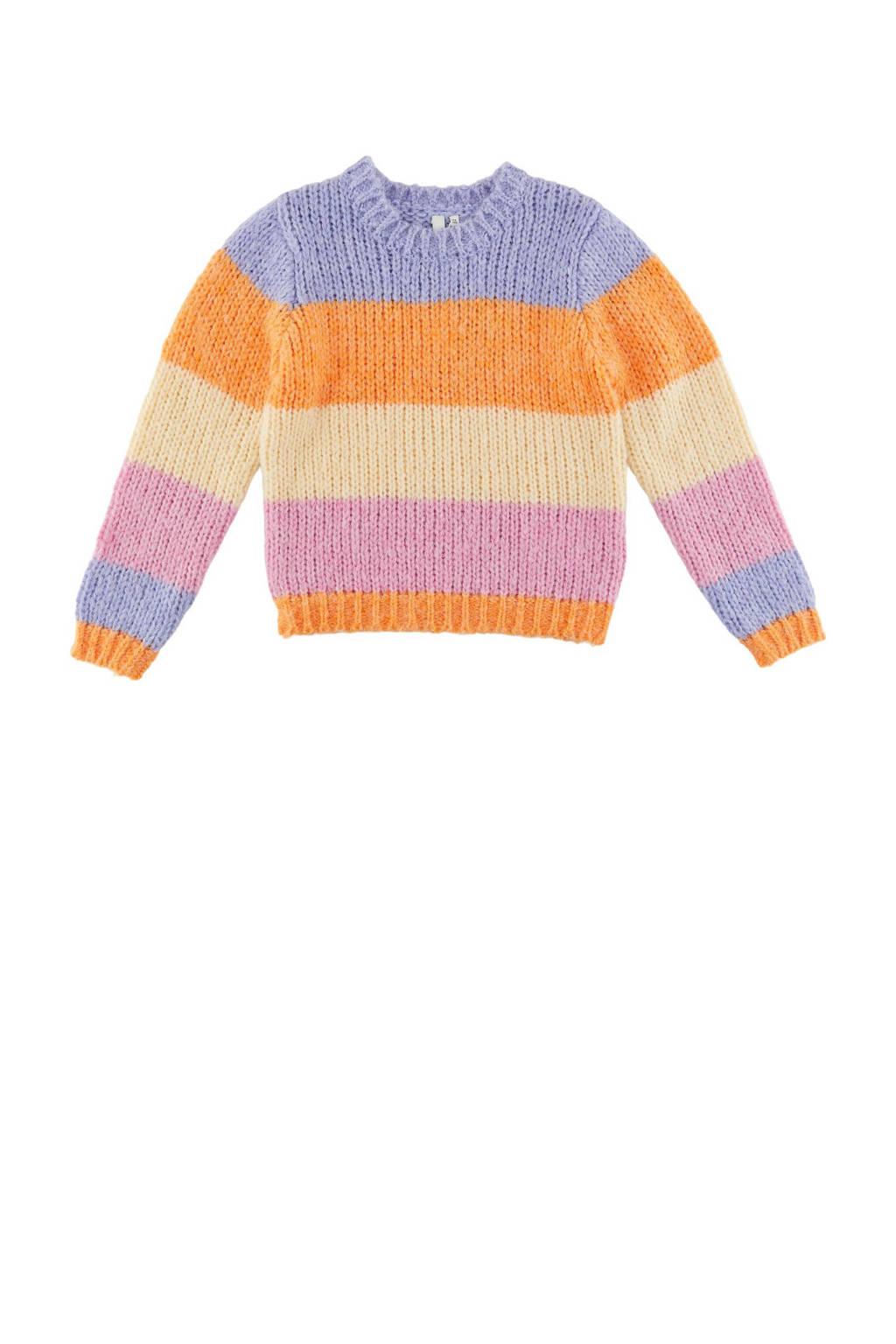 little PIECES gestreepte trui LPFONDA van gerecycled polyester paars/oranje, Paars/oranje