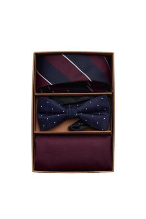 giftbox Canton stropdas + vlinderdas + pochette bordeauxrood/donkerblauw