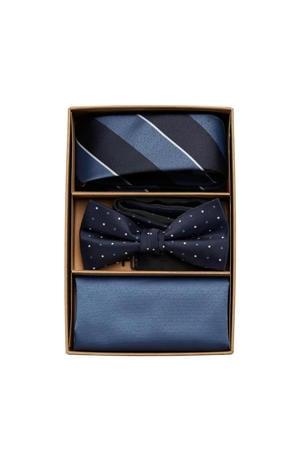 giftbox Canton stropdas + vlinderdas + pochette blauw/donkerblauw