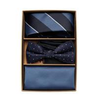 JACK & JONES giftbox JACANTON stropdas + vlinderdas + pochette blauw/donkerblauw, Blauw/donkerblauw