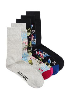 sokken Flower Bird - set van 6 grijs/zwart