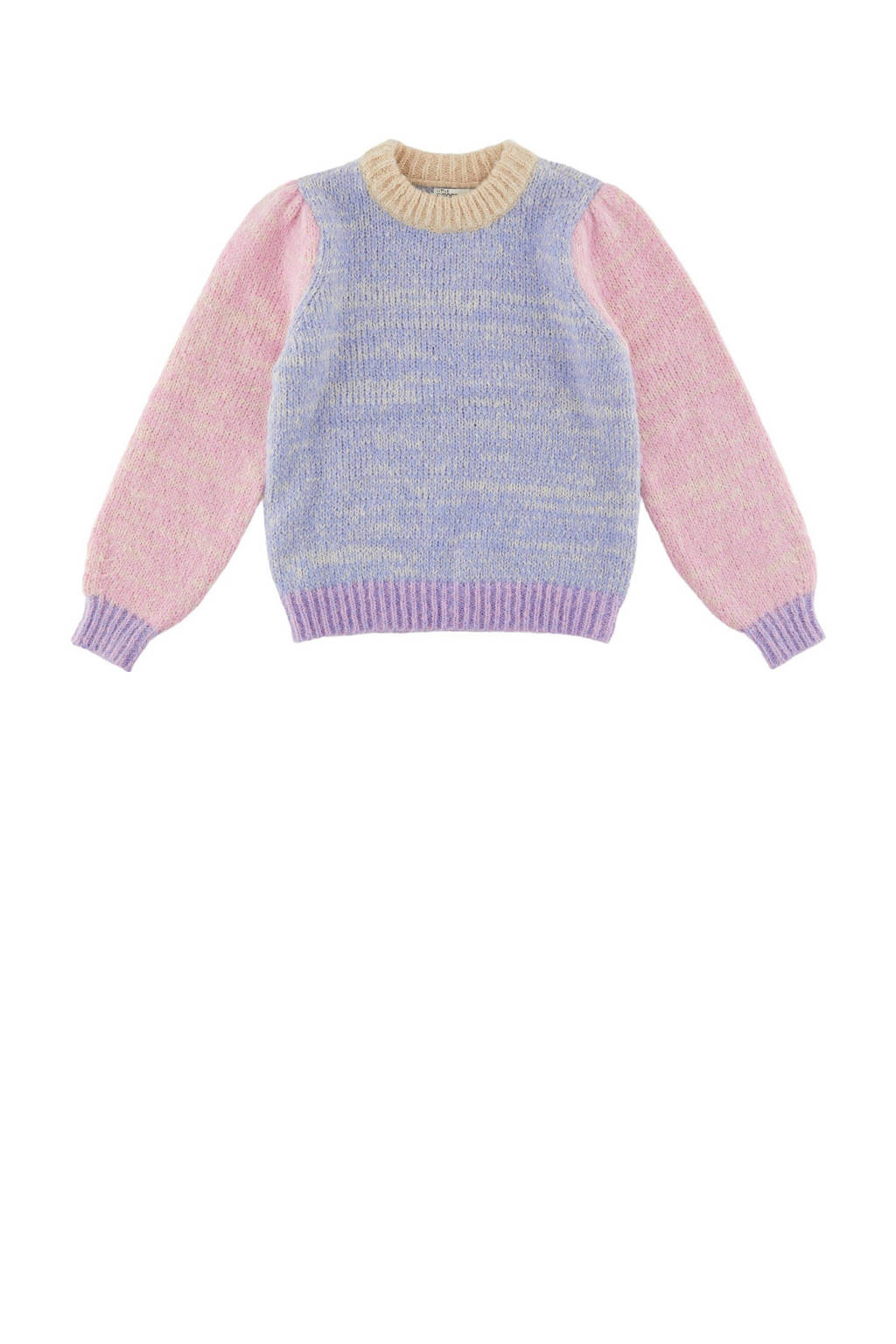 little PIECES trui LPFELISIA van gerecycled polyester paars/blauw/roze, Paars/blauw/roze