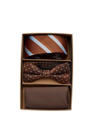 giftbox Carl stropdas + vlinderdas + pochette bruin