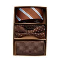 JACK & JONES giftbox JACCARL stropdas + vlinderdas + pochette bruin, Bruin