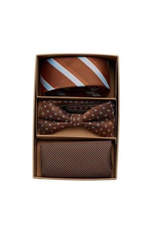 giftbox JACCARL stropdas + vlinderdas + pochette bruin
