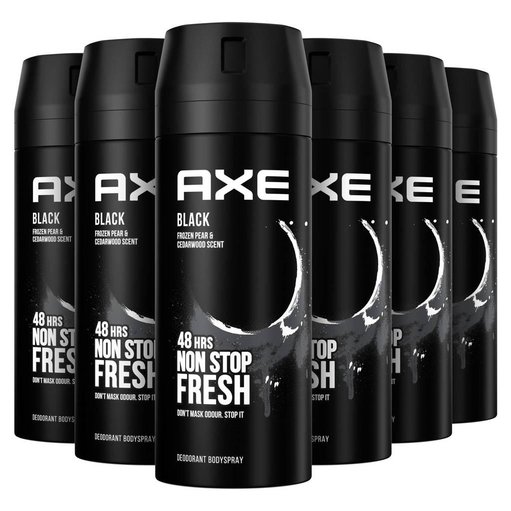 Axe Axe Black Bodyspray Deodorant - 6 x 150 ml - Voordeelverpakking