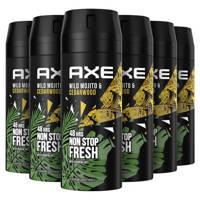 Axe Axe Mojito & Cedarwood Pepper Bodyspray Deodorant - 6 x 150 ml - Voordeelverpakking