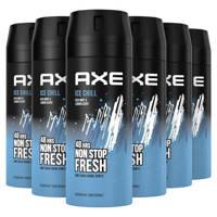 Axe Axe Ice Chill Bodyspray Deodorant - 6 x 150 ml - Voordeelverpakking