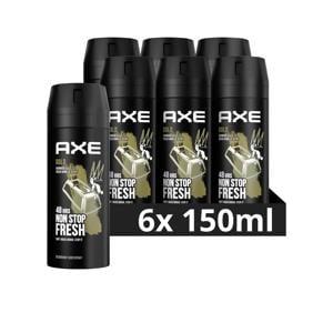 Axe Gold Bodyspray Deodorant - 6 x 150 ml - Voordeelverpakking