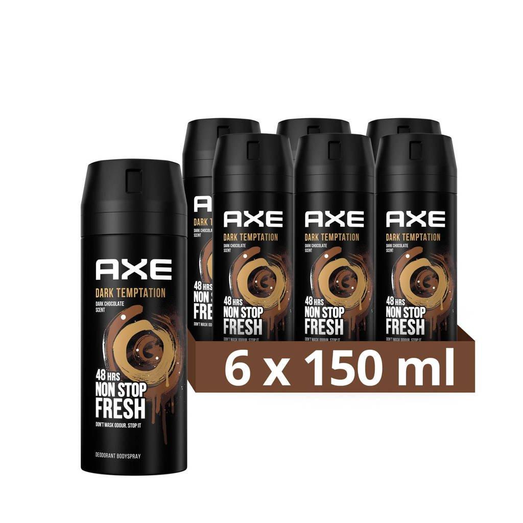 Axe Axe Dark Temptation Bodyspray Deodorant - 6 x 150 ml - Voordeelverpakking