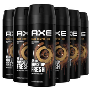 Axe Dark Temptation Bodyspray Deodorant - 6 x 150 ml - Voordeelverpakking