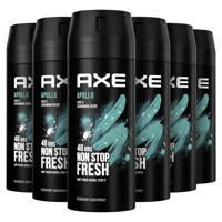 Axe Axe Apollo Bodyspray Deodorant - 6 x 150 ml - Voordeelverpakking