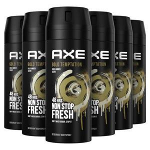Axe Gold Temptation Bodyspray Deodorant - 6 x 150 ml - Voordeelverpakking