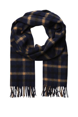 geruite sjaal SLFTIME donkerblauw/camel