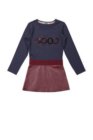 jurk met tekst donkerblauw/brique