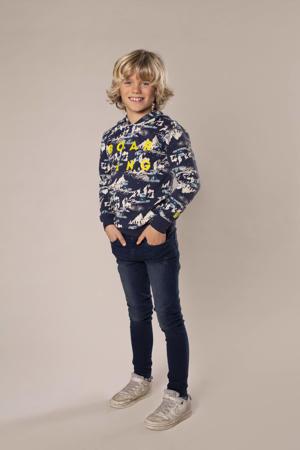sweater met all over print donkerblauw/wit/geel