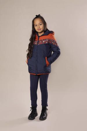 gewatteerde winterjas donkerblauw/roestbruin