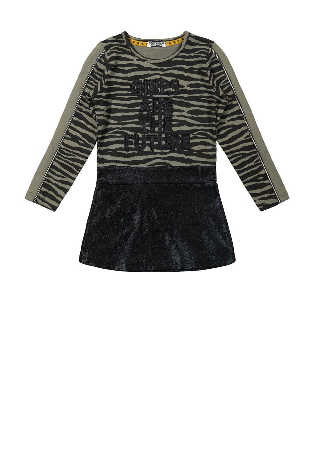 DJ Dutchjeans jurk met contrastbies army groen/zwart, Army groen/zwart