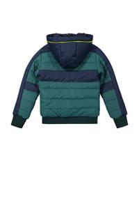 DJ Dutchjeans gewatteerde winterjas groen/donkerblauw/geel