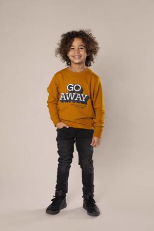 sweater met tekst geel/wit/donkerblauw