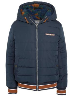 gewatteerde winterjas donkerblauw/donker oranje/groen