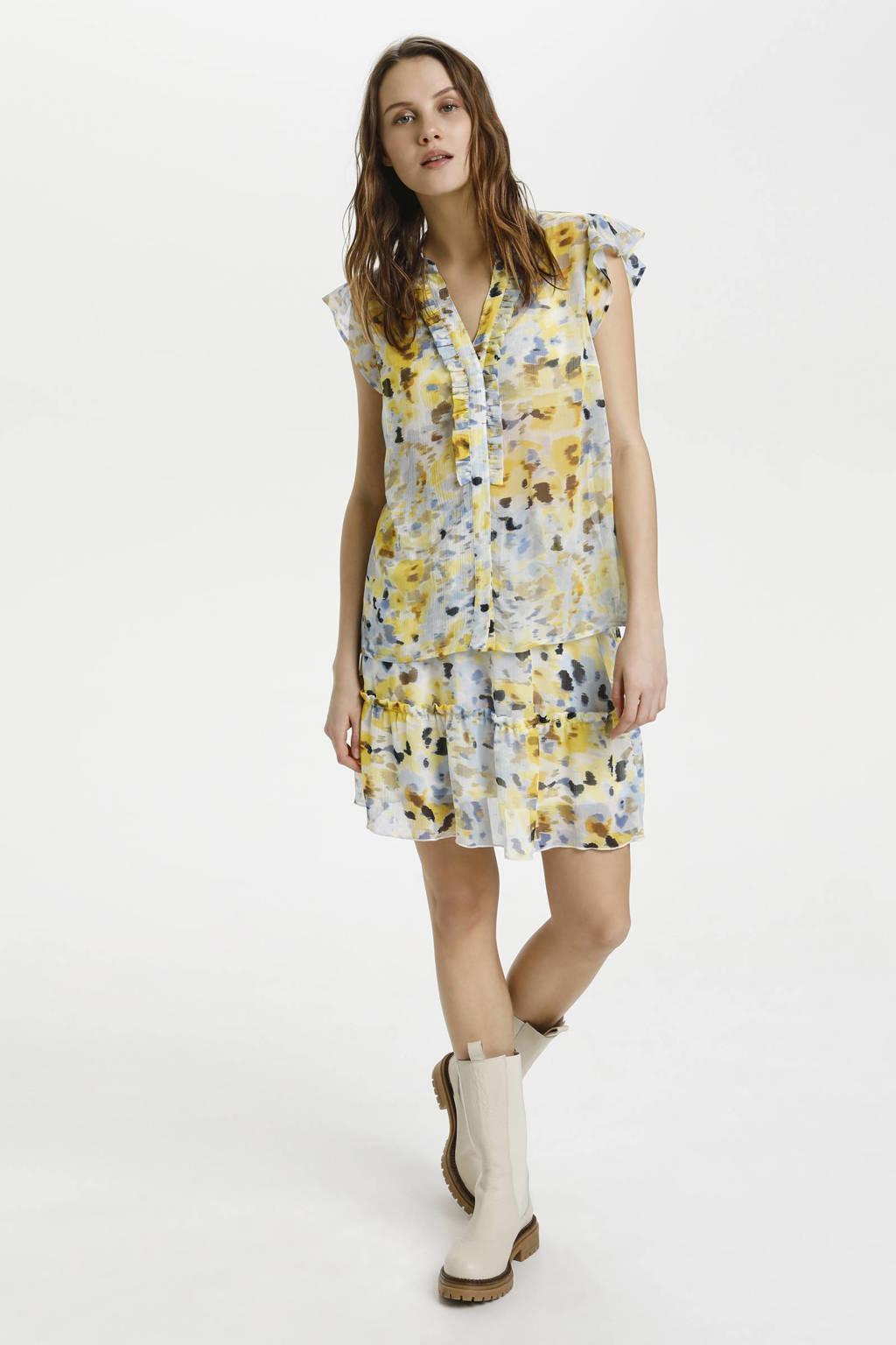 Saint Tropez geweven blouse GroSZ met all over print en ruches lichtgeel, Lichtgeel