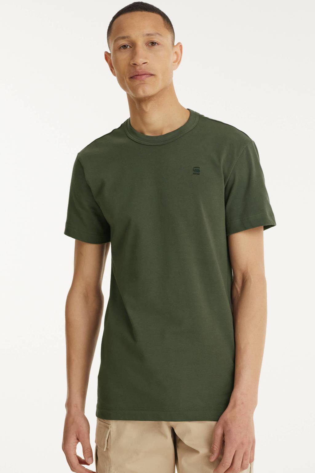 G-Star RAW T-shirt Stem met logo donkergroen, Donkergroen