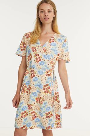 gebloemde A-lijn jurk Ashlyn Raye lichtgeel/ lichtblauw
