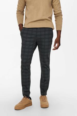 geruite regular fit broek ONSMARK zwart/grijs