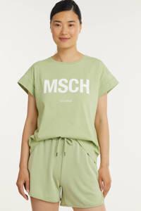 MSCH Copenhagen T-shirt Alva met logo lichtgroen, Lichtgroen